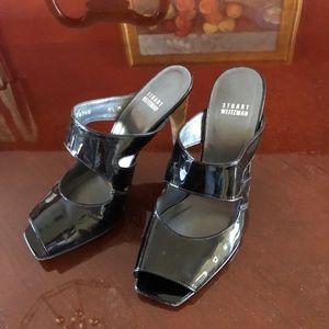 Dressy patent leather black high heeled sandal